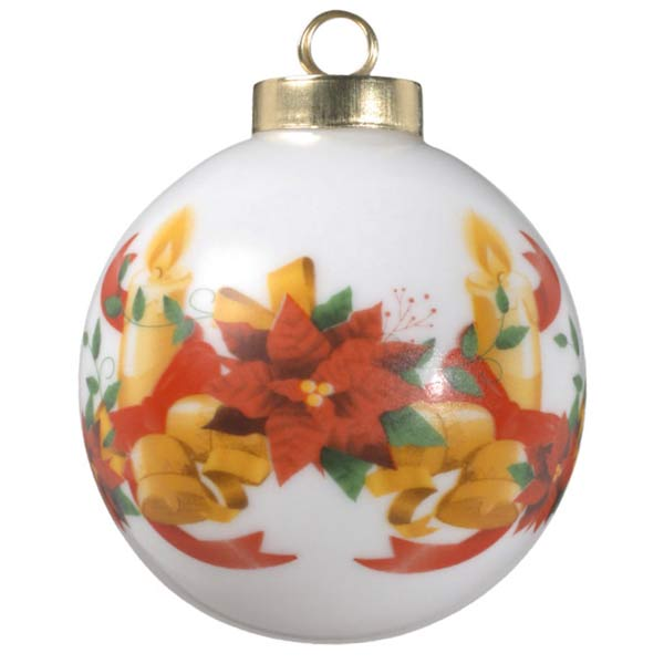 Add your photo to a ball ornament with candles, bells and ribbons