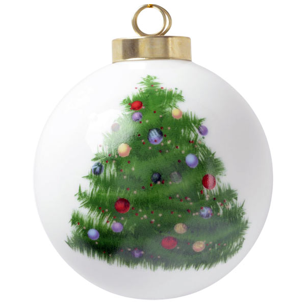 Add your photo to a classic style porcelain ball ornament with Christmas Tree art on the back