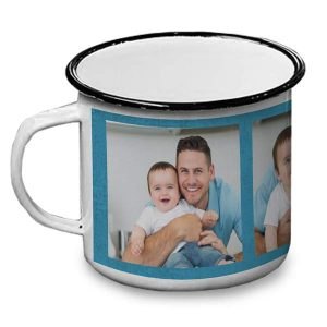 Enamel camping mug for day makes a great gift personalized with photos