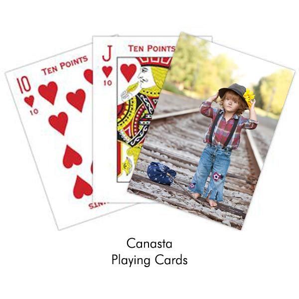 Create your own Canasta playing card deck, add a photo and text