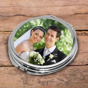 Create a beautiful photo personalized compact mirror to keep with you on the go