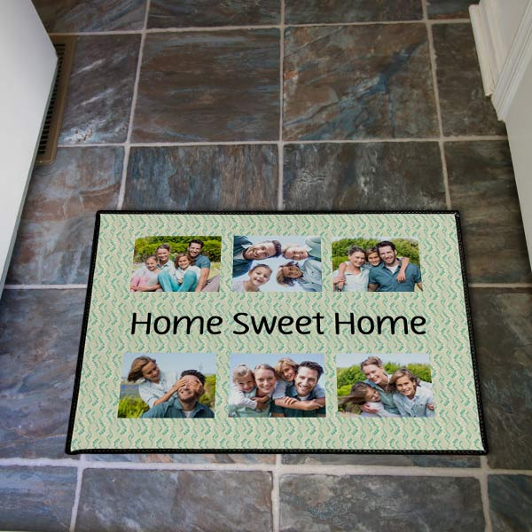 Welcome home to smiling faces on a custom door mat for your home