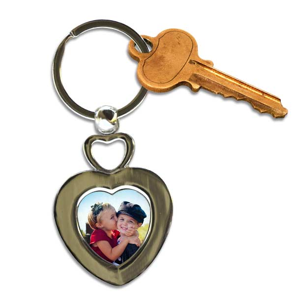 Create a double heart key chain with a photo of the one you love, perfect for anyone