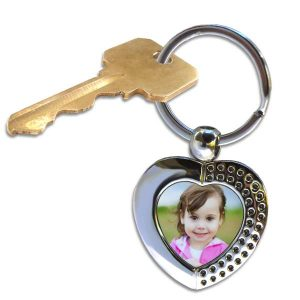 Designer heart key chain is perfect for keeping a picture of someone special close by