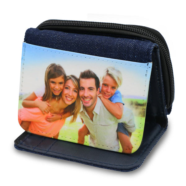 Denim wallet personalized with photo