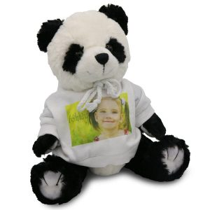 Stuffed Panda bear with photo personalized sweater for children