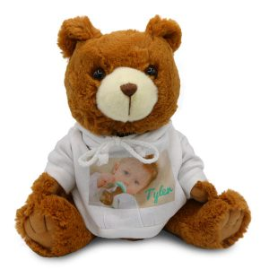 Customize a unique gift with your own text and photos and create a personalized teddy bear.