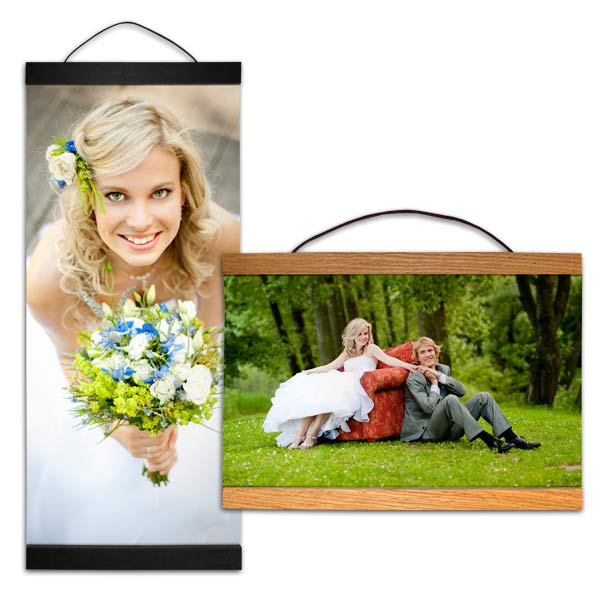Hanging canvas comes in different shapes to fit your space and frame your photos