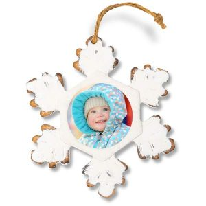 Create a rustic style wood snowflake ornament with your own photo printed on it