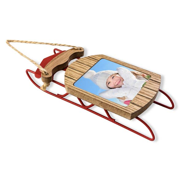 Wood and metal classic sled with your picture added to it makes for a great holiday ornament