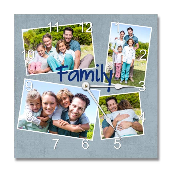 Create your own photo collage wall clock with Winkflash Aluminum photo clocks