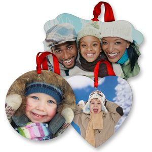 Beautiful solid MDF photo ornaments with sharp and glossy photos printed on them