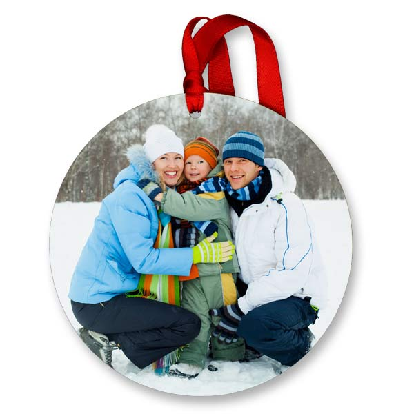 Add your photo to a beautiful round glossy photo ornament