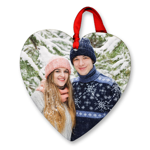 For someone special, create a heart shaped photo ornament to hang on your tree