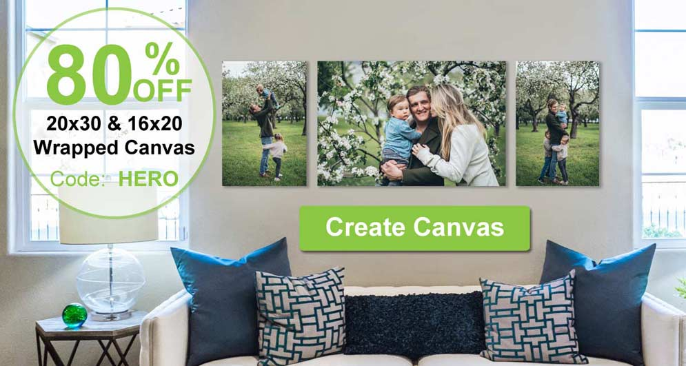 Canvas prints are on sale and you can add your pictures to canvas to decorate your home