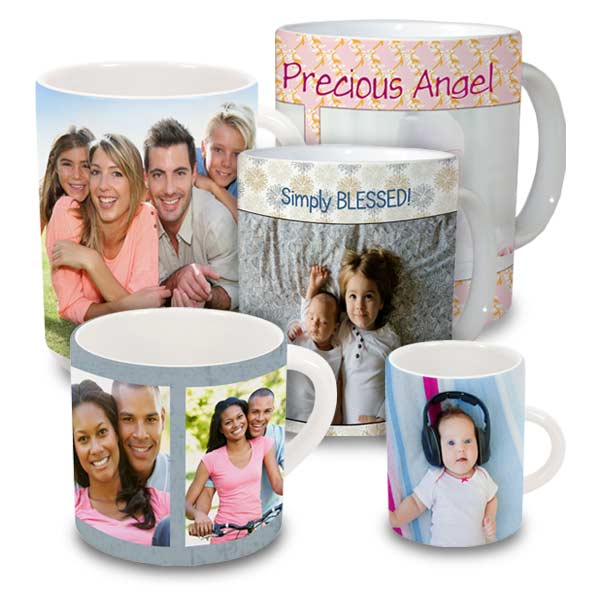 Ceramic white mugs personalized with photos and text and available in multiple sizes