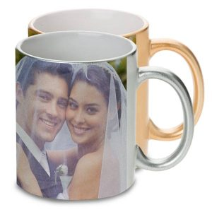 Gold and Silver metallic mugs are a unique way to share a special moment