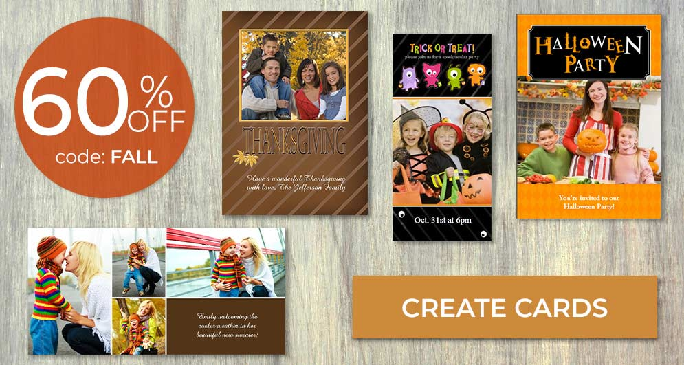 Send a spooky greeting and trick or treat by mail with custom Halloween cards
